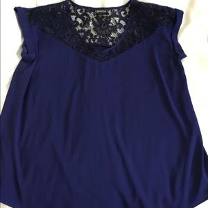 Express Tops - Large Express dark blue top, with black lace